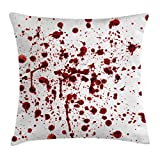 """Ambesonne Horror Throw Pillow Cushion Cover, Splashes of Blood Grunge Style Bloodstain Horror Scary Zombie Halloween Themed Print, Decorative Square Accent Pillow Case, 20"""" X 20"""", Red White"""