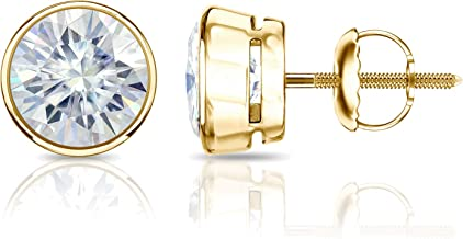 14k Gold Round Moissanite Stud Earrings (1 to 7ct TGW, J-K) Bezel-set, Screw-Back by Diamond Wish