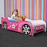 Nobiko Autobett Kinderbett Bett Schlafzimmer Kindermöbel Spielbett 140 X 70 cm 160 x 80 cm 180 X 80 cm Matratze Lattenrost (140 x 70 cm bis 5 Jahre, PINK Girl Things)