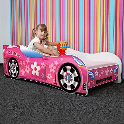 Nobiko Autobett Kinderbett Bett Schlafzimmer Kindermöbel Spielbett 140 X 70 cm 160 x 80 cm 180 X 80 cm Matratze Lattenrost (160 x 80 cm bis 8 Jahre, PINK Girl Things)