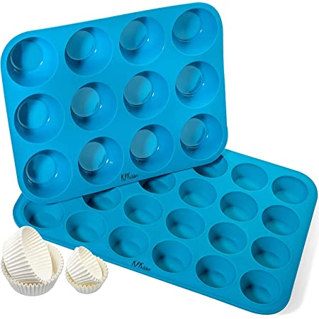 Silicone Muffin Pan & Cupcake Baking Set - Non Stick, BPA Free & Dishwasher Safe Silicon Bakeware Pans/Tins - Blue Top Home Kitchen Rubber Trays & Molds - Free Recipe eBook (12 & 24 Cup Set)