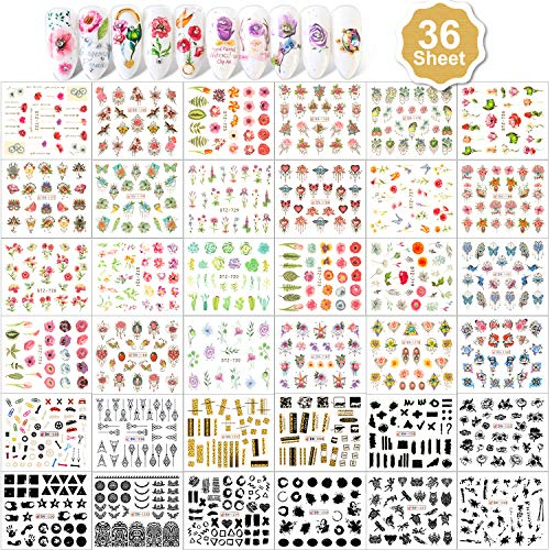Qpout 900+ Designs Nail Art Stickers Autocollants pour Filles Femmes, Fleurs Maçonnerie Bijoux Nail Art Transfert D'eau Autocollants Stickers Ongles Conseils Manucure Décorations pour Femmes Filles