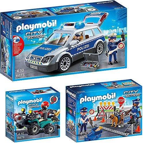 PLAYMOBIL® City Action 3er Set 6873 6878 6879 Polizei-Einsatzwagen + Polizei-Straßensperre + Ganoven-Quad mit Seilwinde