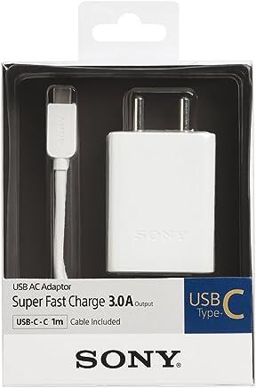 Sony 008562017474 Cargador USB Adaptador Tipo C de un Puerto con Cable Micro-USB, 3A, Color Blanco