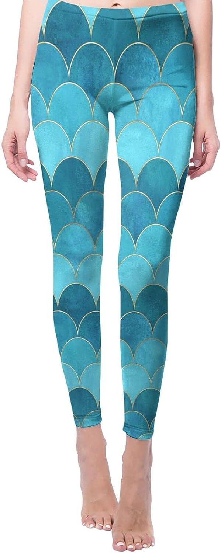 Golden Mermaid Austin Mall Watercolor Great interest Fish Scales1 Yoga Printed Pant Women's