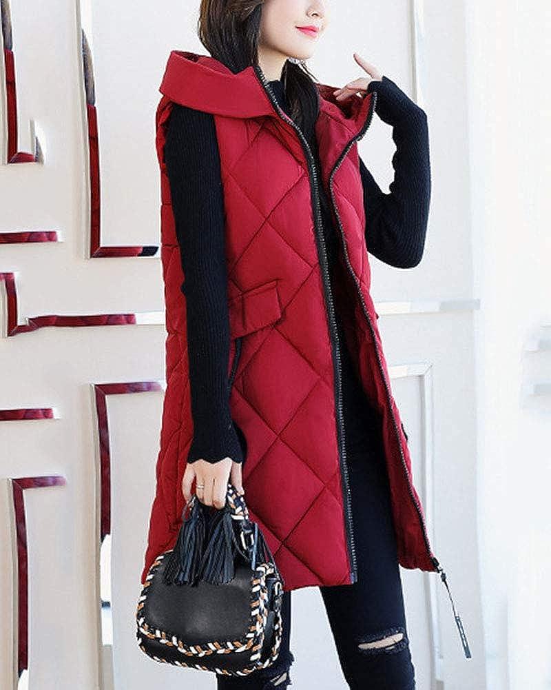 Damen Weste mit Kapuze Ärmellos Einfarbig Steppweste Verdicken Slim Fit Lang Mantel Rot