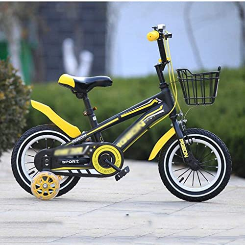 Kind fürrad Freestyle Kinderfürrad, Boy's und Girl's Bikes mit Stützr r, 12 Zoll, 14 Zoll, 16 Zoll, 18 Zoll, Geschenke für Kinder für Neugeborene (Farbe  Gelb, Größe  14 cm) - gelb, 14 Zoll