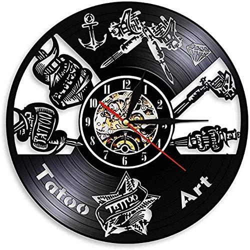 Reloj de pared de vinilo Estudio de tatuaje Logotipo de...
