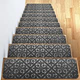"Carpet Stair Treads Set of 13 Non Slip/Skid Rubber Runner Mats or Rug Tread – Indoor Outdoor Pet Dog Stair Treads Pads – Non-Slip Stairway Carpet Rugs (Gray) 8"" x 30' Includes Adhesive Tape"