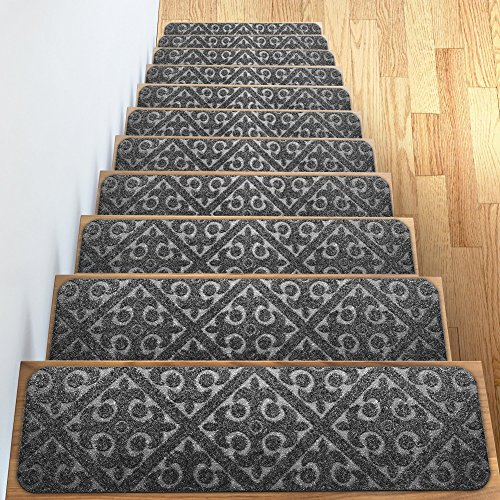 "Carpet Stair Treads Set of 13 Non Slip/Skid Rubber Runner Mats or Rug Tread – Indoor Outdoor Pet Dog Stair Treads Pads – Non-Slip Stairway Carpet Rugs (Gray) 8"" x 30"" Includes Adhesive Tape"
