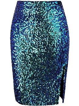 VIJIV Women s Classy Stretchy High Waist Sequin Midi Pencil Skirts for Night Party Evening Wedding Bridesmaid Blue XX-Large