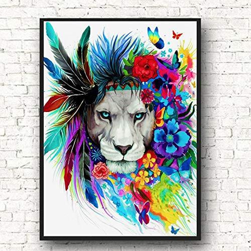 Löwen abstrakte Leinwand Wandkunst Tier große Katze Graffiti für Babyzimmer Dekoration,Rahmenlose Malerei,75x107cm