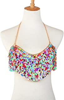 Womens Body Chain Sexy Body Chain Lady Rainbow Necklace Bra Chain Party Dress Beach Bikini Fashion Charming Body Jewelry for Party (Color : Multicolor, Size : Free Size)