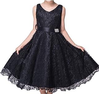 BODYA 子供ドレス 女の子Vネックレース プリンセスパーティー スカート結婚式 花嫁介添人ドレス