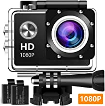 $30 » Action Camera, 12MP 1080P 2 Inch LCD Screen, Waterproof Sports Cam 120 Degree Wide Angle Lens, 30m Sport Camera DV Camcorder with with 2 Rechargeable Batteries and Mounting Accessories Kit 3