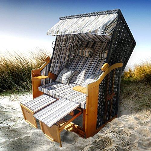 BRAST Strandkorb Deluxe 2-Sitzer XXL für 2 Personen 120cm breit mehrere Designs incl. Abdeckhaube Farbe Grau/Blau/Olive gestreift Ostsee
