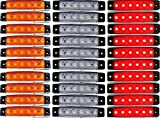30 luces LED de posición lateral, color ámbar, blanco, rojo, de 24V, para camión, remolque, furgoneta