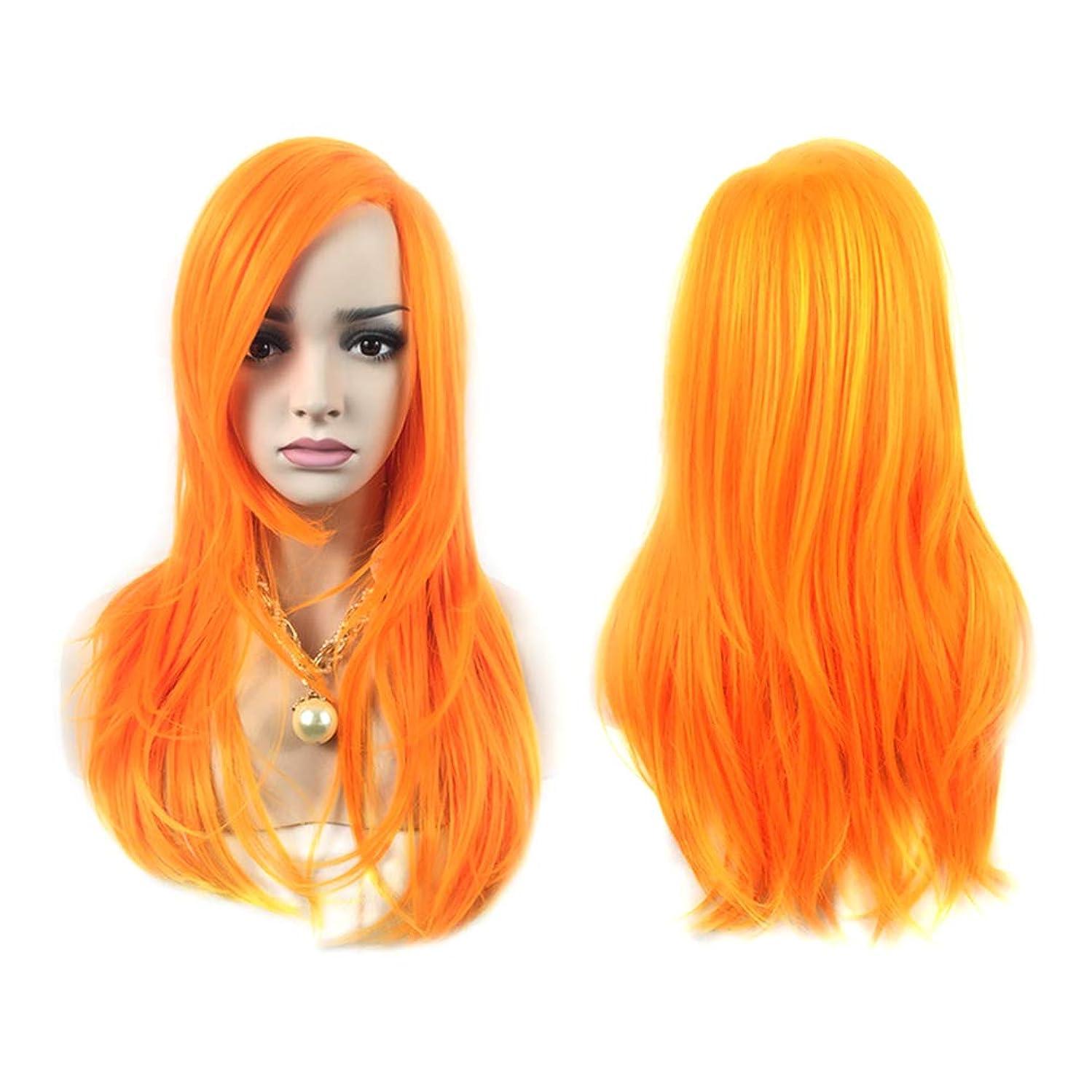 かわすアスペクトピストル女性ファッショングラデーションショートストレートヘアウィッグ自然に見える絶妙な弾性ネットウィッグカバー(66177オレンジ)