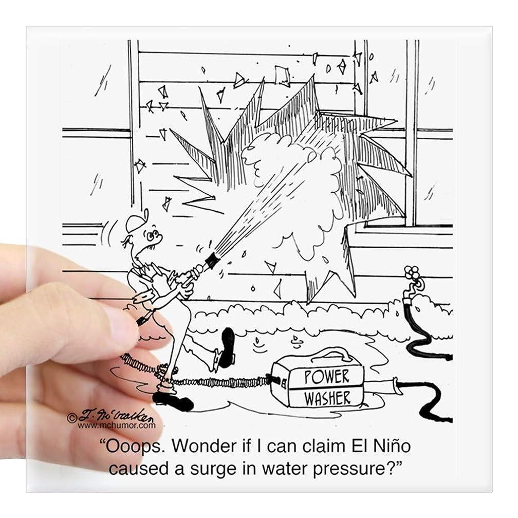 CafePress 6414_Power_Washer_Cartoon Square Sticker 3 X 3 Square Bumper Sticker Car Decal, 3