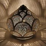 Casa Moro orientalische Tischlampe aus Metall Marwa D22 Silber in Tropfenform mit E14 Fassung |...