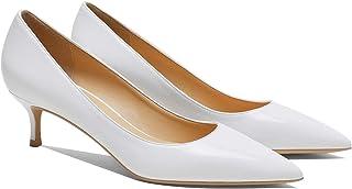 MOOMMO Kitten Heel Pumps Pointed Toe Satin Slip On 2 Inch Mid Heel Dress Shoes Classic Work Pumps for Office Ladies Weddin...