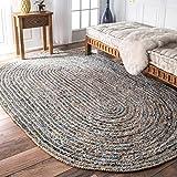 HomeDecorBoutique Handmade Hand Braided Denim Cotton/Jute Area Rug (3' x 5' Oval, Denim/Jute)