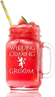 Wedding is Coming Groom Lannister Game Of Thrones Inspired Gift 15 Mason Jar Glass, Groomsmen Beer Glass Gift, Best Man Gift, Bridal Party Gift, Groom Beer Glass.- 4 PC SET