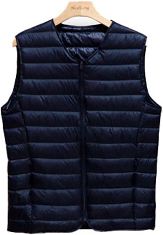 IGJMOD Couples V-Neck Ultra Light Down Vest Zipper Waistcoat Warm Liner Vest Navy XL