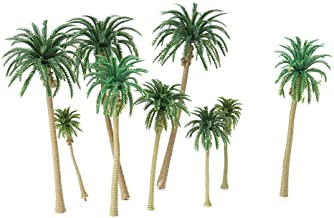 Carrfan 15pcs Miniature Scenery Layout Model Plastic Tree Palm Trees Train Coconut Rainforest Home Garden Decoration