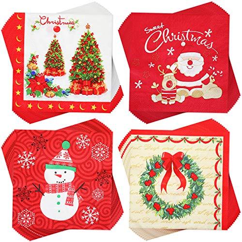 Outus 80 Piezas Servilletas de Navidad Servilletas de Cóctel Desechables Servilletas Decorativas de Papel para Suministros...