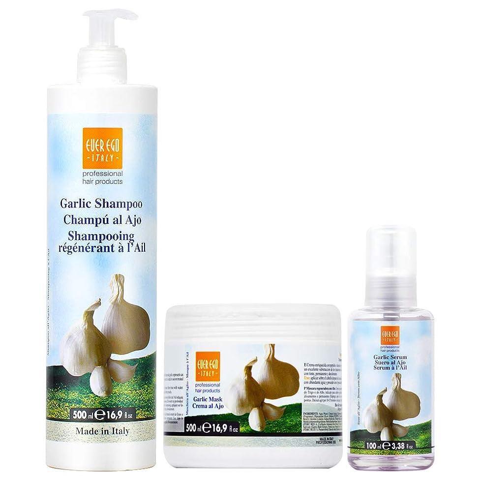 Ever Ego Regenerating Garlic Shampoo + Mask 16.9oz + Serum 3.38oz (3 PCS SET)