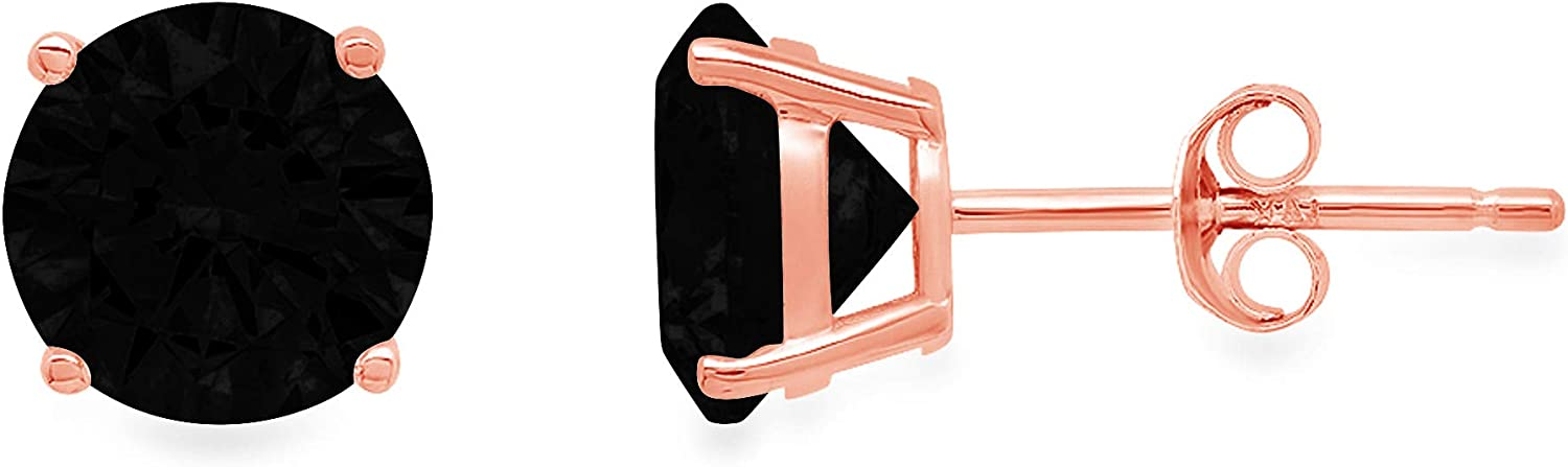 0.3ct Brilliant Round Cut Solitaire Flawless Genuine Natural Black Onyx Gemstone Pair of Stud Designer Earrings Solid 14k Pink Rose Gold Butterfly Push Back