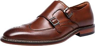 Santimon Homme Cuir Double Monk Chaussures à Boucle de Ville Wingtip Brogue Habillées Business Casual Derby Loafer Noir Ma...