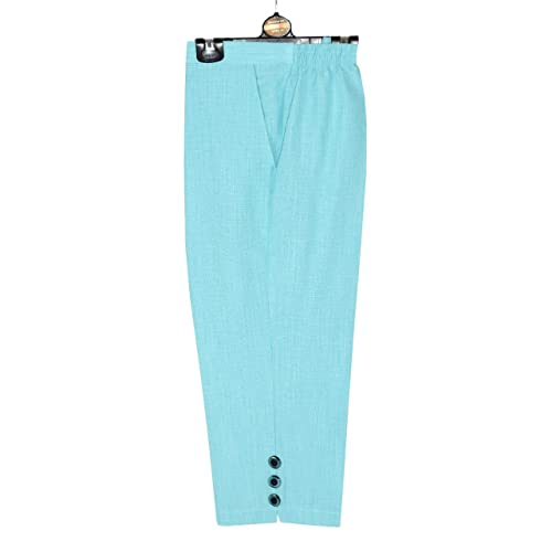 b9af6dbbb54a Elegant Vap Ladies 3 4 Linen Look Trousers Women Capri Cropped Pants Summer  Shorts Plus