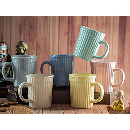 RHC Handcrafted Ceramic Plain Multicolor Microwave Safe Chai/Tea Cups Coffee Serving Tea Mugs Set Best Gift for Friends, Anniversary, Birthday Set of 6 (340 ML)