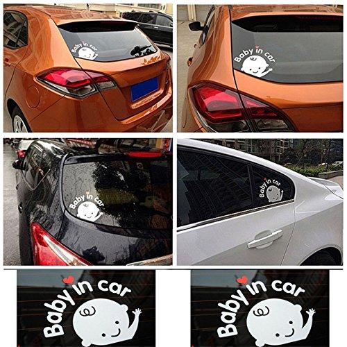 Kreative 17x14 cm Baby an Bord Baby im Auto Auto Aufkleber wasserdicht reflektierende Auto Aufkleber auf der Heckscheibe - grau & weiß