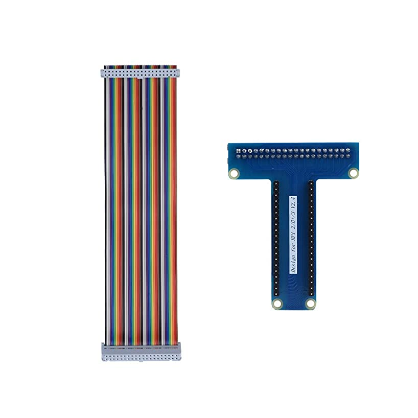 Lazmin T-Type GPIO Extension Module Board Adapter with 40Pin Ribbon Flat Cable for Raspberry Pi 1B / 2B/ 3B, Extending Input and Output Port