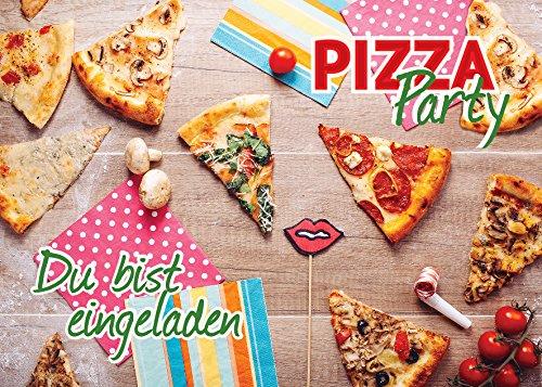 JuNa-Experten 12 Einladungskarten zum Geburtstag /Pizza-Party/ Pizzaessen/ schöne und Bunte Einladungen