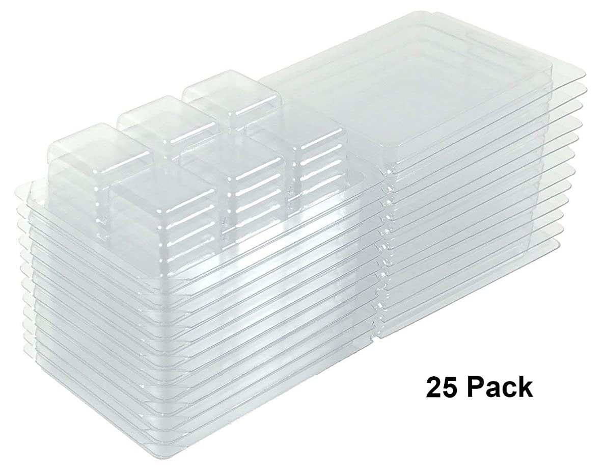 Bettli Clamshell Molds and Packaging 6-Cavity for Candle and Soap Making - 6 Large 1 Ounce Cells - Holds 2.75 Oz Capacity - Quantity 25 Pack