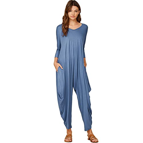e0323b456753 Annabelle Women s Solid Harem Pant Long Sleeve Pocket Harem Pant Jumpsuit