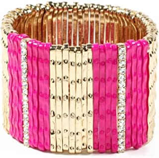 Amrita Singh Pink & Austrian Crystal Mercer Stretch Bracelet