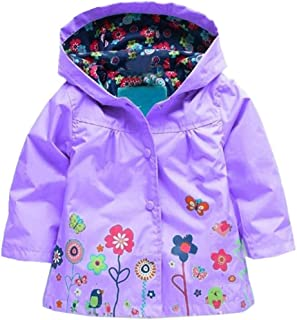 Zaclotre Baby Girl Kid Waterproof Floral Hooded Rain Jacket Outwear Raincoat with Hoodies