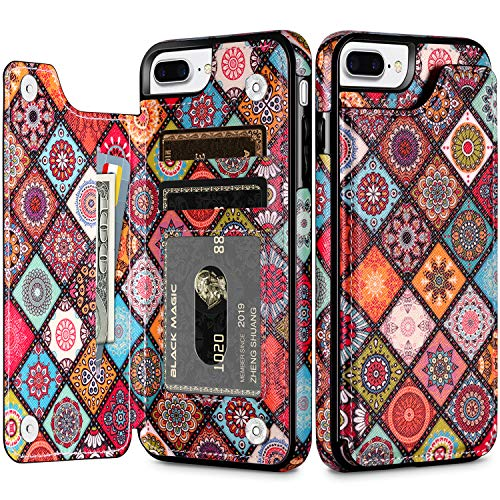 HianDier Wallet Case for iPhone 8 Plus 7 Plus Slim Protective Case Credit Card Slot Holder Flip Soft PU Leather Magnetic Closure Cover Case Compatible with iPhone 7 Plus 8 Plus, Mandala Colorful