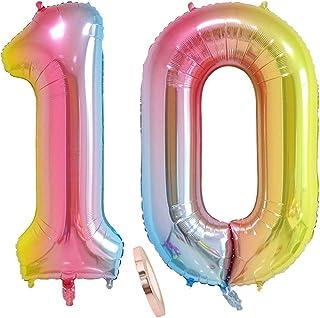 """globos numeros 10 años, globo número 10 arcoíris para niña niño infantil, 40"""" Figuras helio globo inflable gigante,grande iridiscentes colores rosados rosa decoración fiesta de cumpleaños (xxxl 100cm)"""