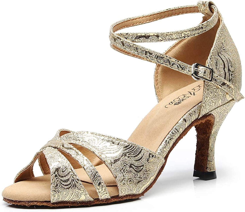 XIAOY Ballroom Ballroom Ballroom Frauen Lateinische Tanzschuhe PU Leder Peep Toe High Heel Rom Schnalle7.5CM  a7e20e