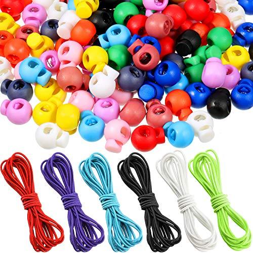 120 Pieces Multicolor Plastic Toggle Cord Locks Single Hole Spring Loaded Elastic Drawstring Rope Cord Locks with 18 m Multicolor Elastic Nylon Shock Cord