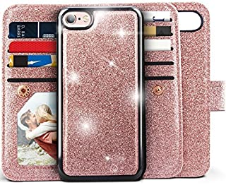 iPhone 6s Case, iPhone 6S / 6 Wallet Case, Miss Arts Detachable Magnetic Slim Case with Car Mount Holder, 9 Card/Cash Slots, Wrist Strap, PU Leather Cover for Apple iPhone 6s 6 -Rose Gold