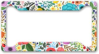 The Turnip Seed Co Bright Color Folk Flower Pattern - All Over Hippie Boho Floral Pattern - License Plate Frame LP1470