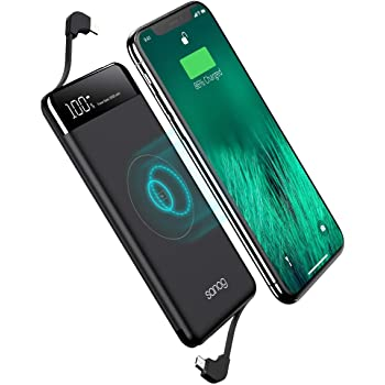Amazon Com Charmast Wireless Power Bank 10000mah 10w Qi Fast Charging Portable Charger With Suction Cup Wireless 18w Usb C Power Delivery Pd Quick Charge External Battery Pack Compatible With Iphone Samsung