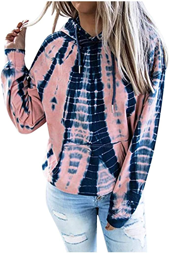 Forwelly Tie Dye Sweatshirt Hooded for Women Casual Loose Hoodies Tunic Top Pullover with Pocket